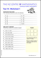 Year 10 Worksheet 1